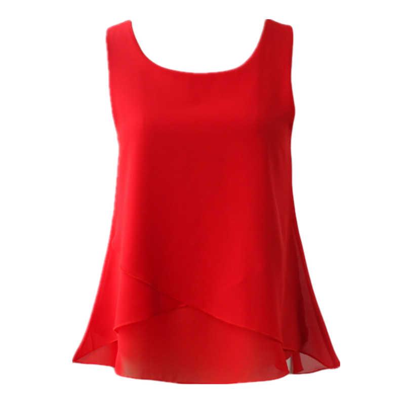 Banerdanni Mulheres Chiffon Blusa 2019 chegada Nova Verão sem mangas O Pescoço Casual Feminino Blusas Plus Size 6XL Camisas de cor Sólida