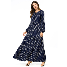 Bohemian Style Women Dress Long Sleeve Vintage Polka Dot maxi Elegant Dresses Evening Party High Waist