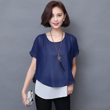 Soperwillton 2016 Summer Blouses Women Shirts Elegant Short Sleeve Fake Two Pieces Chiffon Blouse Casual Lady Tops Shirt  #B957