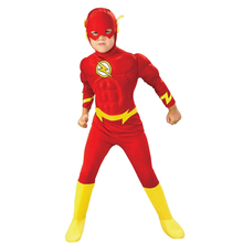 Kids Flash Costume Muscle Superhero Cosplay Fantasy Child Comics Movie Carnival Party Halloween Costumes For Boy