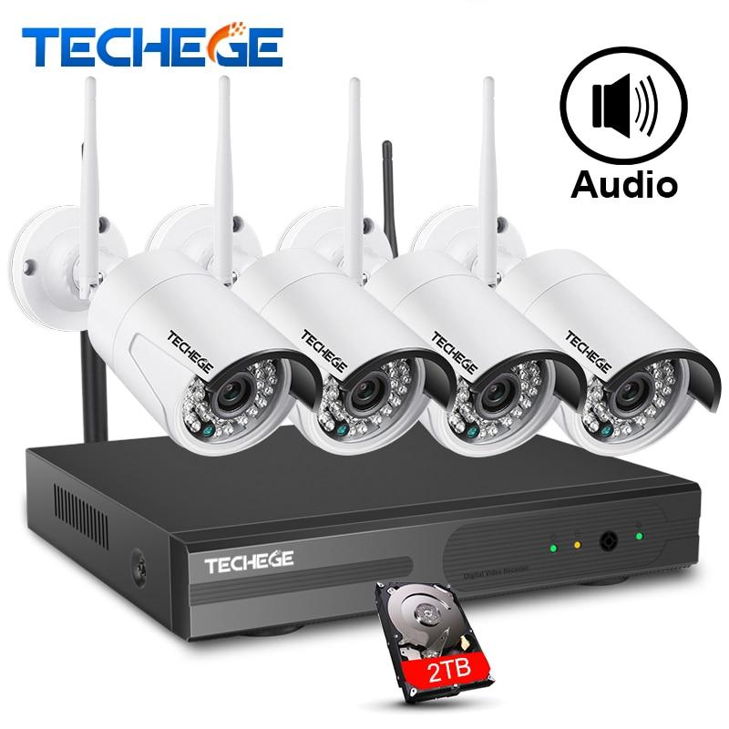 Techege 4CH 1080 p NVR Kit 1080 p WIFI Caméra IP Audio 2.0MP Sans Fil kit WiFi Caméra CCTV Système E-mail alerte CCTV caméra système