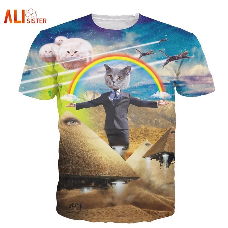 Alisister 2019 New 3d Cat   T     Shirt   Printed Animal   T  -  shirt   Women Men Funny Clothing Harajuku Tee   Shirt   Casual Unisex 3d   T     Shirt
