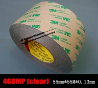 (55mm *55M *0.13mm, 5.2mils) 3M Double Sided Adhesive Clear Tape Film, Heat Resistant for Electrical Metal Plate Label Sticker