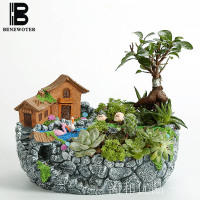 BENEWOTER Creative Home Garden Supplies Fleshy Succulent Plants Bonsai Bonsai Flower Pot Flowerpot Resin Plants and Flowers Vase