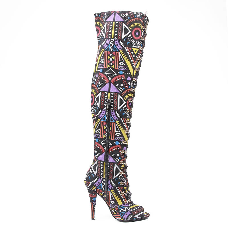 Harajuku 2018 New Gothic Colors Printed Women Canvas Thigh High Boots Sexy Female High Heels Open Toes Club Party Dancing Shoes