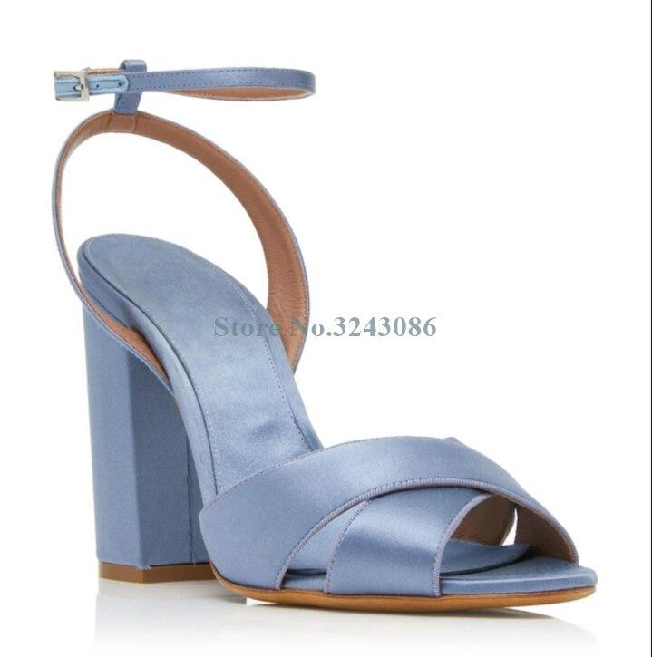 Bleu ciel soie croix attaché épais talon sandales Orange cheville boucle sangle sabot talons sandales doux concis talons hauts chaussures d'été