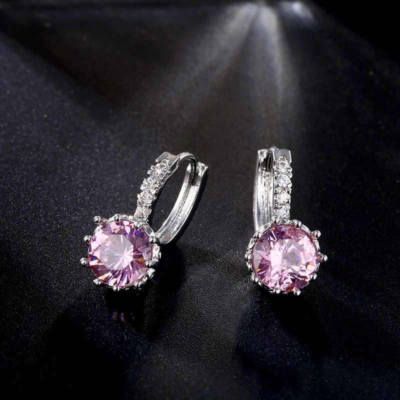 CARSINEL 6 paires/lot haute qualité multicolore CZ boucles d'oreilles couleur argent boucles d'oreilles pour femmes Micro brillant mariage ER0160