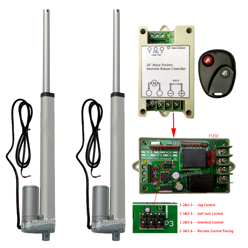 """Set Of 2 250mm 10"""" 12v Linear Actuators 14mm/s Dc Motor W/ Switchable Forward Reverse Controller Kits For Furniture Car Tv Lifts To Ensure A Like-New Appearance Indefinably"""