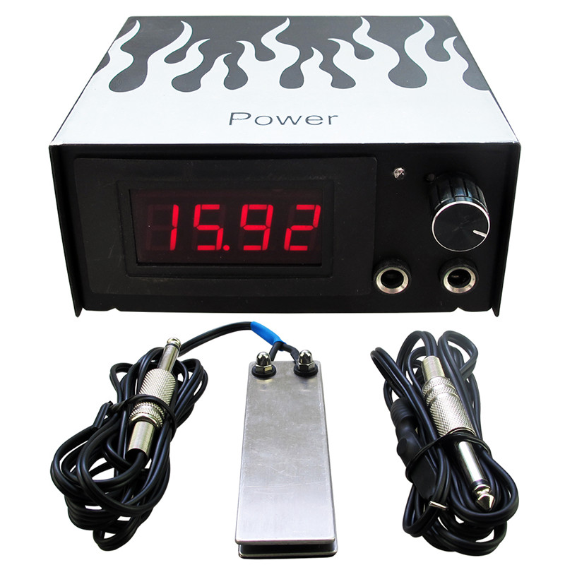 1set Tattoo Power Supply Kit Cheap Tattoo Power Supply Foot Pedal Switch Silicone Clip Cord Tattoo Kit Supply Free Shipping promotion tattoo machine power supply digital foot pedal switch 8 clip cord tattoo grommets tattoo kit free shipping