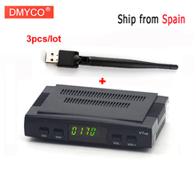 Ship from spain 3pcs/lot DVB-S2 V7 HD Satellite TV Receiver Support USB WIFI PowerVu Biss Key Clines Newcamd Youporn 3G dongle