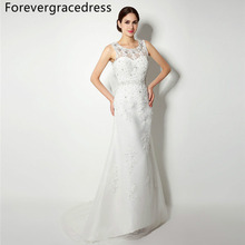 Forevergracedress Elegant Cheap Mermaid Wedding Dress Sheer Neck Crystals Applique Long Bridal Gown Plus Size Custom Made