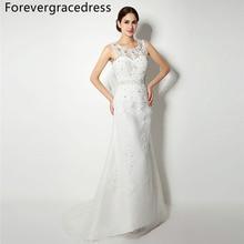 Forevergracedress Elegant Cheap Mermaid Wedding Dress Sheer Neck Crystals Applique Long Bridal Gown Plus Size Custom Made
