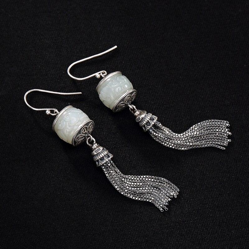 2018 Earings Fashion Jewelry S925 Pure Inlay Restoring Ancient Ways Ms Six Words Hetian Jade Tassels Eardrop Earrings Wholesale-in Earrings from Jewelry & Accessories    1