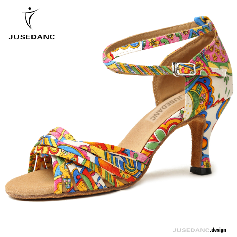 Jusedanc Dance-Shoes Salsa Ballo Cross-Straps Latin Square Middle-Heel Flower Scarpe
