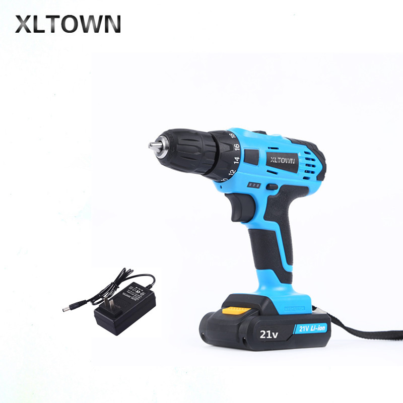 XLTOWN 21V hand Electric drill Rechargeable lithium battery electric screwdriver home cordless Electric drill Power Tools xltown new 21v home cordless electric drill with 2 battery a box multi motion lithium battery rechargeable electric screwdriver