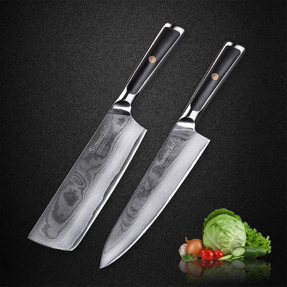 """SUNNECKO 2 قطعة 8 """"الشيف 7"""" الساطور دمشق سكاكين المطبخ مجموعة 73 طبقات اليابانية VG10 النواة شفرة فولاذية G10 مقبض اللحوم قطع سكين-في أطقم سكاكين من المنزل والحديقة على  مجموعة 1"""