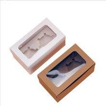 20pcs Cupcake Paper Box Packaging 2 Holders White Brown Kraft Cake Window Gift Wedding Home Party Supply