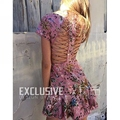 High Quality Women's Summer New Short Sleeve Beach Vacation Party Sexy Backless Bandage Pink Flower Floral Print Dress