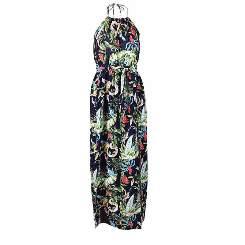 14097541b9070 long loose dress plus size summer dresses women tunic strapless maxi dress  backless beach boho halter dress floral robe KW183002