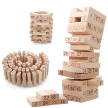 UainCube 54Pcs / Set Деревянная башня Деревянные строительные блоки Игрушка Domino Extract Building Образовательный игровой подарок 4шт Dice Stacking Blocks