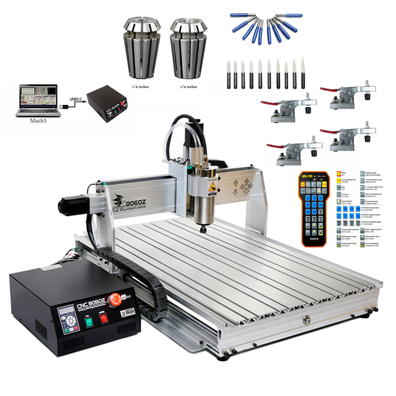 2200W 8060 CNC Router Cutter 3 Axis USB Engraving Machine Remote MACH3  Controller 10pcs Cutting Tools