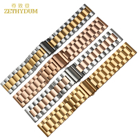 Steel Stainless Bracelet Solid Metal Watchband 26mm Watch Strap Wristwatches Band Black Silver Gold Color Watch