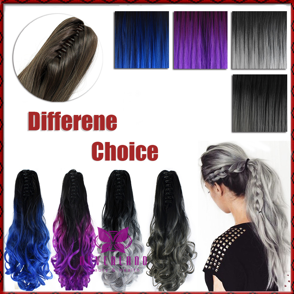 Fashion New 20 50cm Synthetic Claw On Ponytail Hair Extension Wavy Curly Style Ombre Two Tone