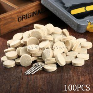 Image 5 - Accessoires Dremel, 100 pièces, 25mm, feutre de laine, roue de polissage, tampon de polissage + 4 tiges de 3.2mm pour outil rotatif Dremel