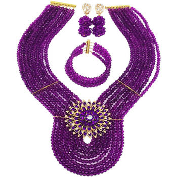 New Purple Crystal Costume Nigerian African Wedding Beads Jewelry Necklaces Set Bridal Beads Sets 8PD14