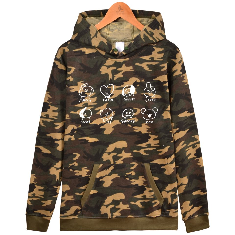 LUCKYFRIDAYF K-pop Hooded Women Winter BTS Bangtan Boys Cartoon Hoodies Sweatshirt Mens Kpop Casual Fashion Camouflage Clothes