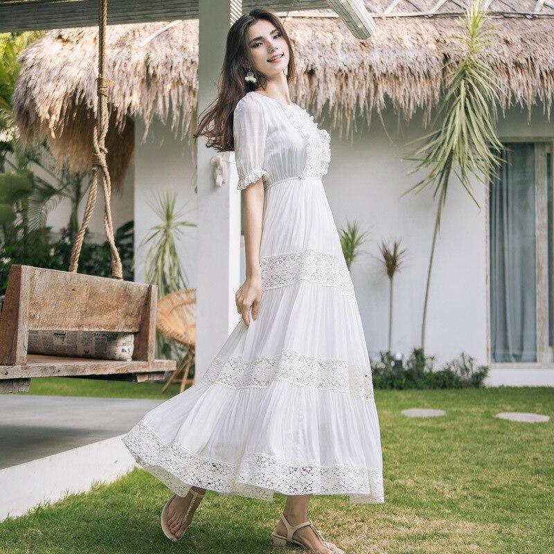 Boho Blanc Femmes Manches Patchwork Ruche Plage Sans Sangle Robes 2019 Vacances Soie Balnéaire En Hippie D'été Nouveau Mousseline Robe De 1clJFK
