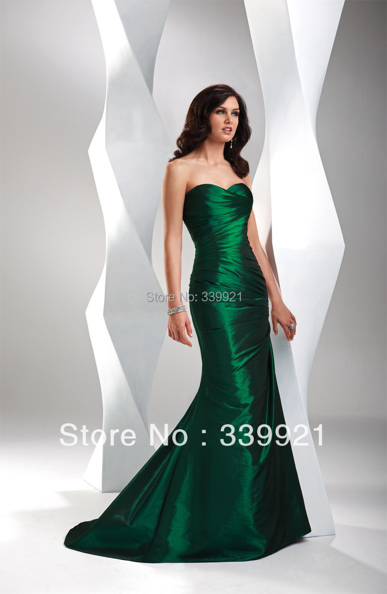 Custom Made Pleated Strapless Sweetheart Red Silver Emerald Green ...