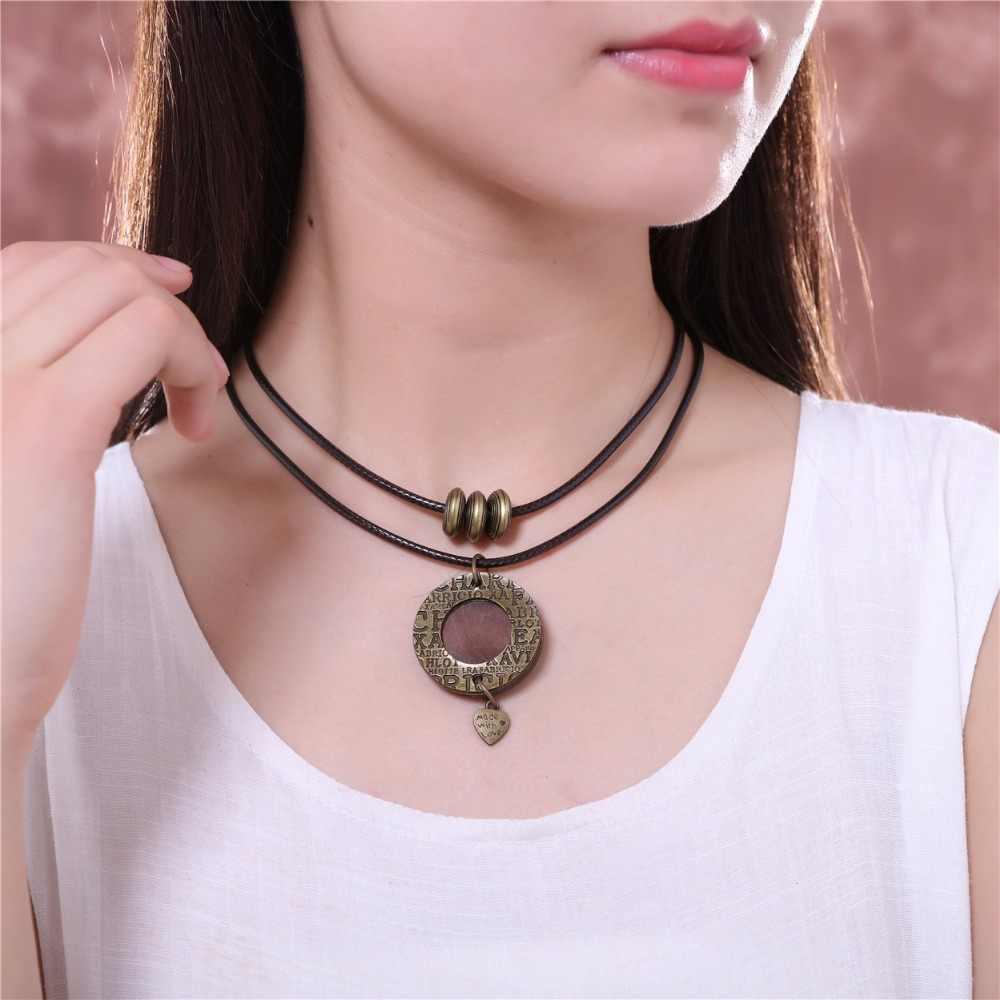Новинка 2017 года ближайшие основа для кулонов и ожерелья деревянный круг кулон сердце длинное ожерелье женщин ожерелье Mujer Colar колье