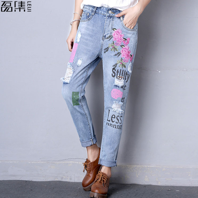 2017 flower embroidered jeans woman plus size loose vintage blue harem pants Ankle-Length Ripped denim Trousers 4XL 5XL summer ripped hole jeans ankle length pants women high waist loose vintage harem denim pants plus size casual blue jeans female