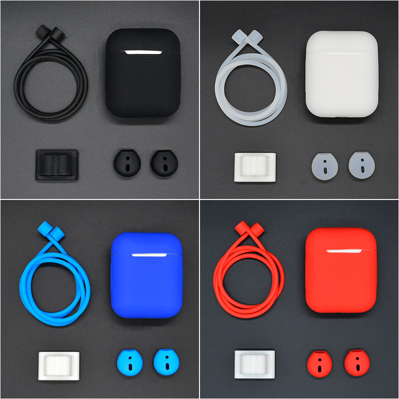 4 in 1 Portable Earphone Cases Anti-lost Strap Holder For AirPods Eartips Headphone Sleeve For Apple Airpods Accessories Sets