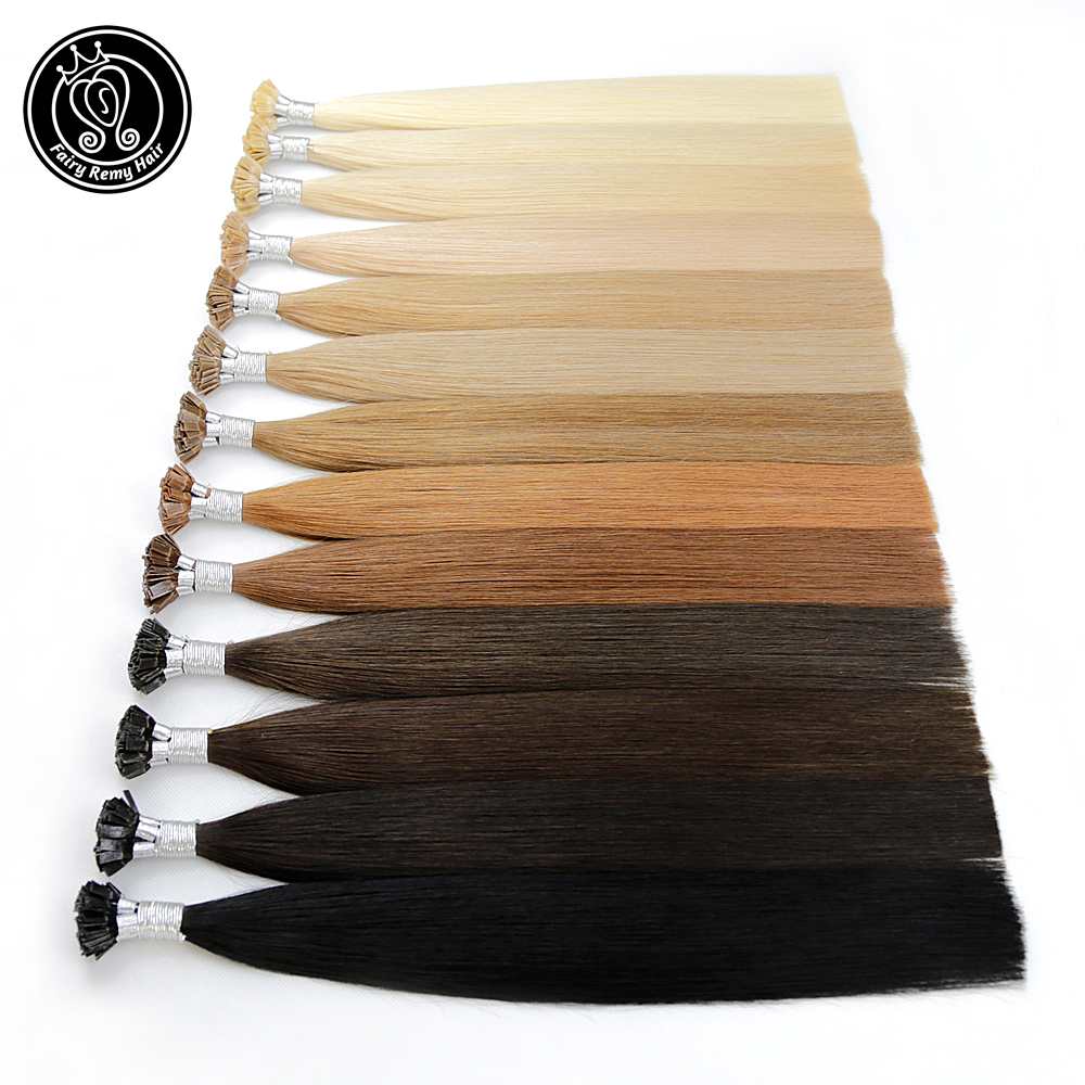 "Fairy Remy Hair 20"" Remy Keratin Flat Tip Human Hair Extensions Blonde Color Straight Capsules Pre Bonded Hair Extension Natural"