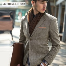 SG high quality 2015 autumn new men 27% wool super slim grey brown full sleeve casual retro business party suits blazers 2xl