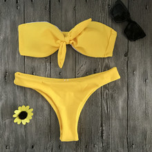 QIANQBKN Hot Lady's Yellow Bikini Sexi Bow Tie Swimwear Women 2017 Solid Bathing Suit Bandeau Bikini Swimsuit Beach Swim Suit