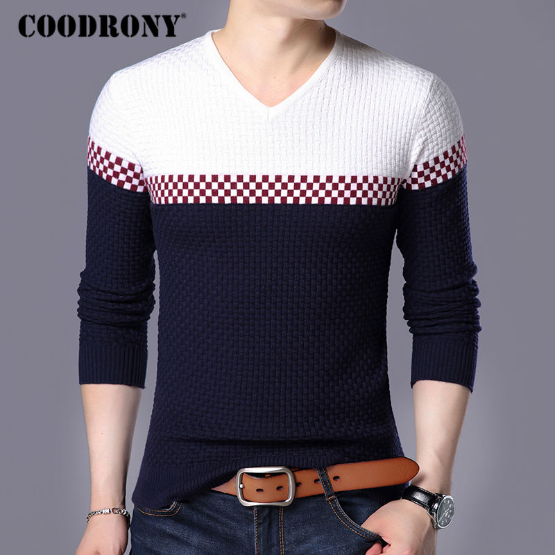 Coodrony Autumn Winter Warm Wool Sweaters Casual Hit Color  Patchwork V-neck Pullover Men Brand Slim Fit Cotton Sweater 155 #3
