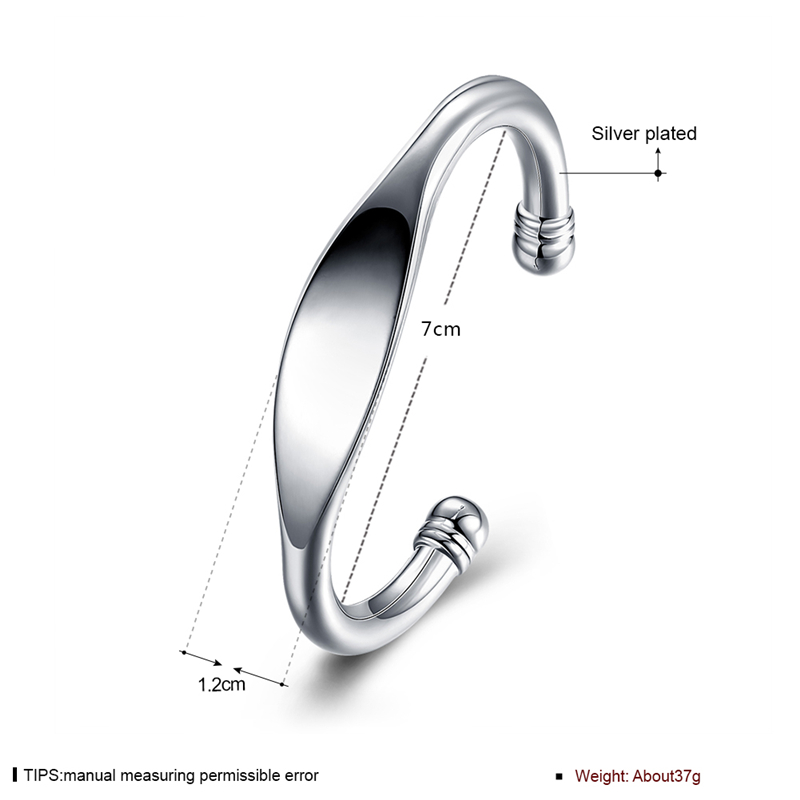 DOTEFFIL 925 Sterling Silver Cuff Bangle Bracelet for Women Fine Jewelry Double Beads Bendable Fashion Noble Style Shiny Bangle