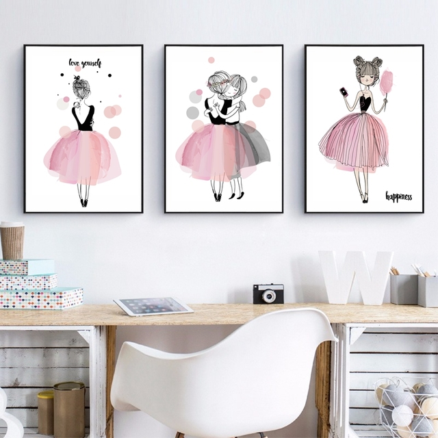 Watercolor Girls Canvas Art Print Poster, Wall Pictures For Girl Room  Decoration, Giclee Wall