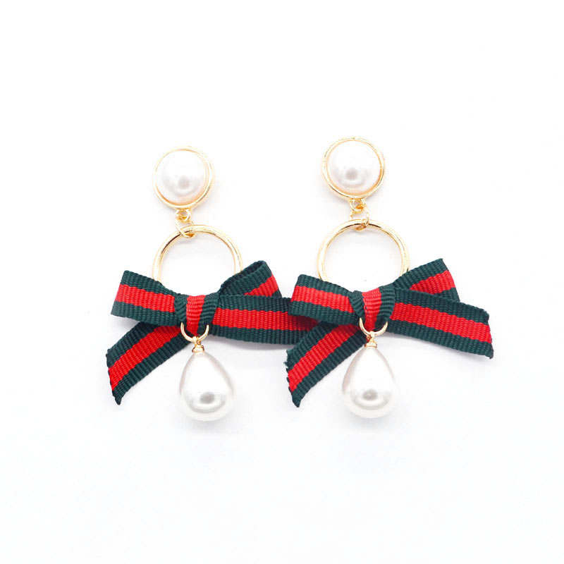 Sykesha 2018 High Quality Ethnic Red and Green Striped Ribbon Stud Earrings Fashion Brincos Imitation Pearl Bow Women Jewelry ...