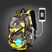 Raged Sheep Boys School Backpack Student Luminous USB Charge Changeover Joint Travel Bags Teenager Waterproof Computer