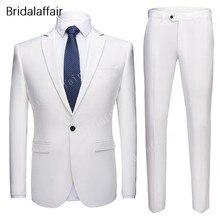 Men's Suit 2piece Costume Jacket--Pants Bridegroom Slim-Fit Wedding Men White Homme Wonderful