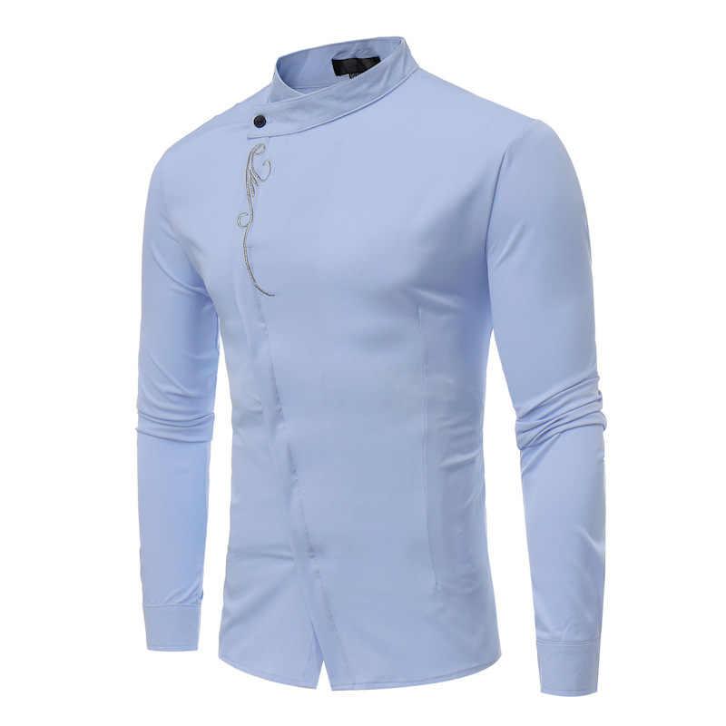 Mens Gold Borduurwerk Tuxedo Overhemden 2018 Merk Slim Fit Obique Knop Stand Kraag Business Shirt Mannen Lange Mouwen Camisas