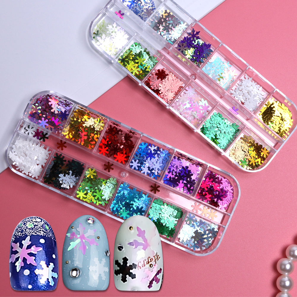 1 Case Mixed AB Nail Flakes Holographic Paillettes Snow