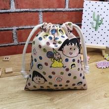 IVYYE 14 or 17CM Chi-bi Maruko Cartoon Drawstring Bags Canvas Storage Handbags Makeup Bag Coin Bundle Pocket Purse NEW