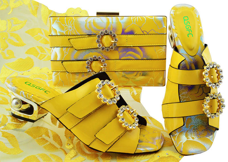 Yellow Color Italian Shoes with Matching Bag Set Decorated with Rhinestone Women Shoe and Bag Set Fashion Design African Shoes doershow african women matching italian red color shoes and bag set decorated with rhinestone italian ladies shoe and bag sab1 2