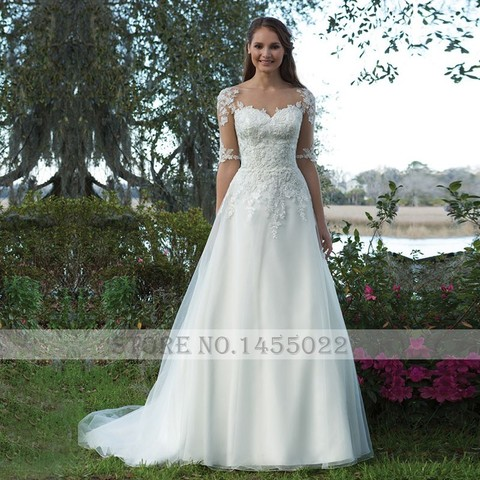 Eightale Wedding Dress with Sleeves Appliques Lace A-Line Train Bride Dress Custom Made Plus Size Wedding Gowns vestido novia Lahore
