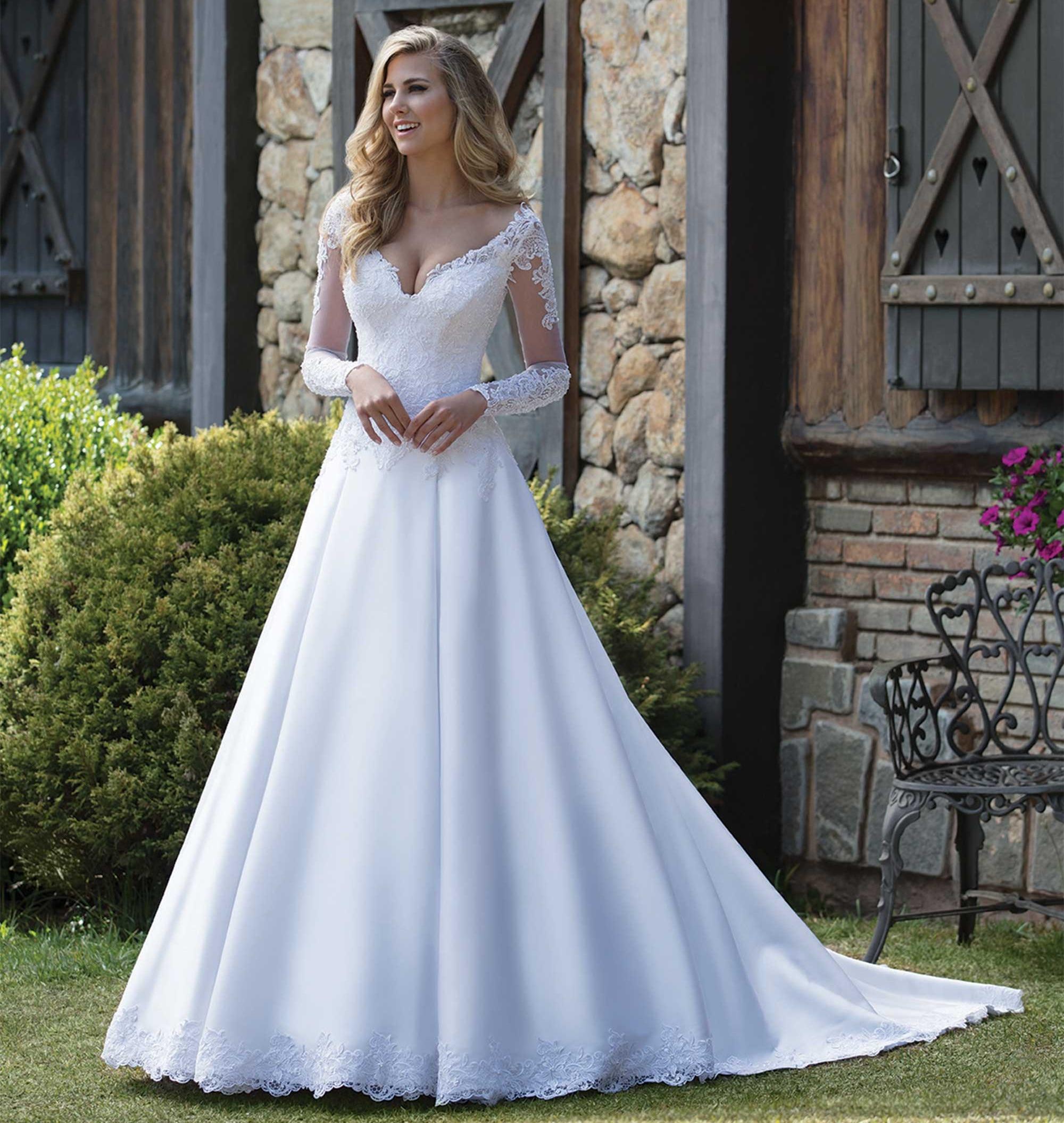 Custom Made A line V neck Long Sleeve Satin Tulle Lace Beading Crystal Elegant Formal Wedding